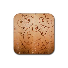 Texture Material Textile Gold Rubber Square Coaster (4 Pack)