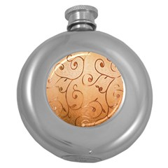 Texture Material Textile Gold Round Hip Flask (5 Oz)
