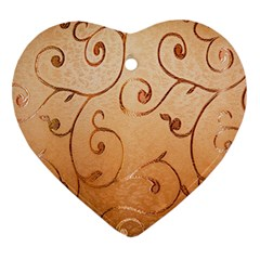 Texture Material Textile Gold Heart Ornament (two Sides)
