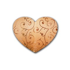Texture Material Textile Gold Rubber Coaster (Heart)