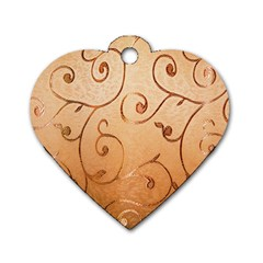 Texture Material Textile Gold Dog Tag Heart (two Sides)