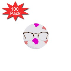Glasses Blue Pink Brown 1  Mini Buttons (100 pack)
