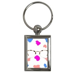 Glasses Blue Pink Brown Key Chains (rectangle)