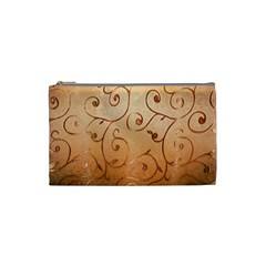 Texture Material Textile Gold Cosmetic Bag (small)