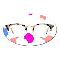 Glasses Blue Pink Brown Oval Magnet