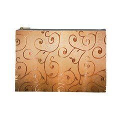 Texture Material Textile Gold Cosmetic Bag (large)