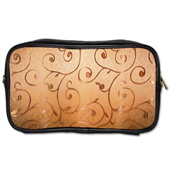 Texture Material Textile Gold Toiletries Bags 2 Side