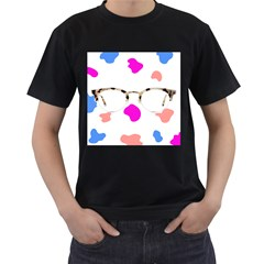Glasses Blue Pink Brown Men s T Shirt (black) (two Sided)