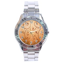 Texture Material Textile Gold Stainless Steel Analogue Watch