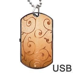 Texture Material Textile Gold Dog Tag Usb Flash (one Side)