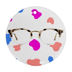 Glasses Blue Pink Brown Round Ornament (Two Sides)