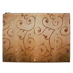 Texture Material Textile Gold Cosmetic Bag (xxl)