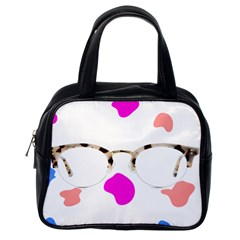 Glasses Blue Pink Brown Classic Handbags (One Side)