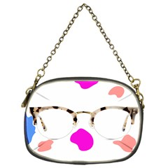 Glasses Blue Pink Brown Chain Purses (one Side)