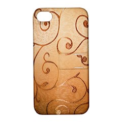 Texture Material Textile Gold Apple Iphone 4/4s Hardshell Case With Stand