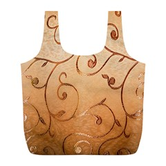 Texture Material Textile Gold Full Print Recycle Bags (L)