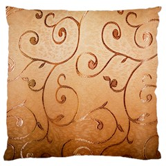 Texture Material Textile Gold Large Flano Cushion Case (one Side)