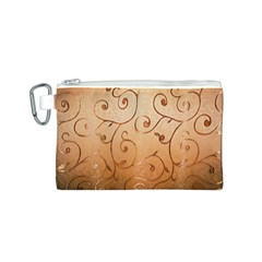 Texture Material Textile Gold Canvas Cosmetic Bag (S)
