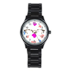 Glasses Blue Pink Brown Stainless Steel Round Watch