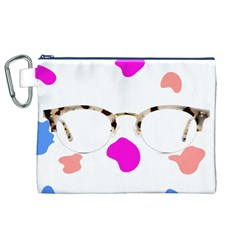 Glasses Blue Pink Brown Canvas Cosmetic Bag (XL)