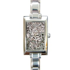 Ice Leaves Frozen Nature Rectangle Italian Charm Watch