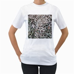Ice Leaves Frozen Nature Women s T Shirt (white) (two Sided)