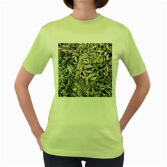 Ice Leaves Frozen Nature Women s Green T-Shirt
