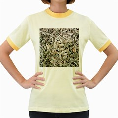 Ice Leaves Frozen Nature Women s Fitted Ringer T Shirts