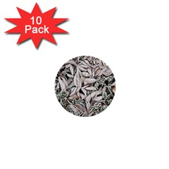 Ice Leaves Frozen Nature 1  Mini Buttons (10 Pack)