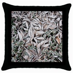 Ice Leaves Frozen Nature Throw Pillow Case (Black)