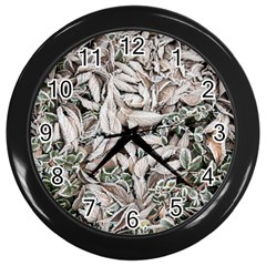 Ice Leaves Frozen Nature Wall Clocks (Black)
