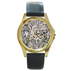 Ice Leaves Frozen Nature Round Gold Metal Watch