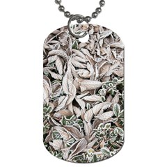 Ice Leaves Frozen Nature Dog Tag (one Side)