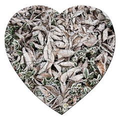 Ice Leaves Frozen Nature Jigsaw Puzzle (Heart)