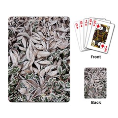 Ice Leaves Frozen Nature Playing Card