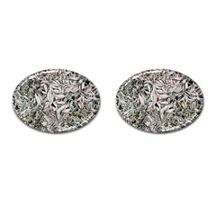 Ice Leaves Frozen Nature Cufflinks (Oval)
