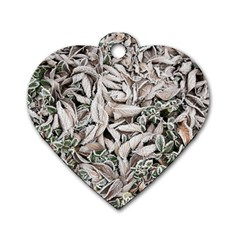 Ice Leaves Frozen Nature Dog Tag Heart (two Sides)
