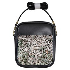 Ice Leaves Frozen Nature Girls Sling Bags