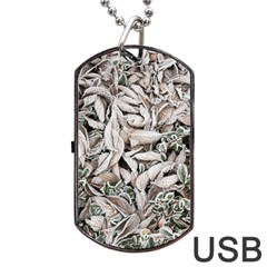 Ice Leaves Frozen Nature Dog Tag Usb Flash (two Sides)