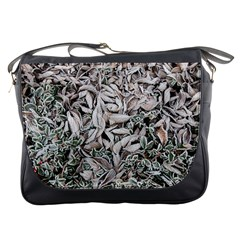 Ice Leaves Frozen Nature Messenger Bags