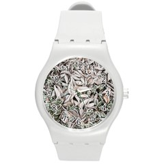 Ice Leaves Frozen Nature Round Plastic Sport Watch (m)