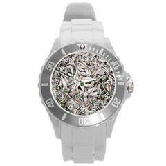 Ice Leaves Frozen Nature Round Plastic Sport Watch (l)