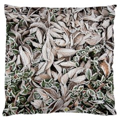Ice Leaves Frozen Nature Large Cushion Case (one Side)