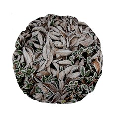 Ice Leaves Frozen Nature Standard 15  Premium Round Cushions