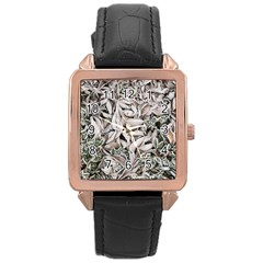 Ice Leaves Frozen Nature Rose Gold Leather Watch