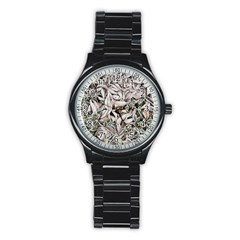 Ice Leaves Frozen Nature Stainless Steel Round Watch