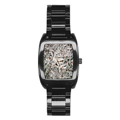 Ice Leaves Frozen Nature Stainless Steel Barrel Watch