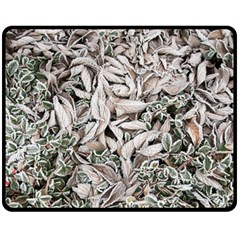 Ice Leaves Frozen Nature Double Sided Fleece Blanket (medium)