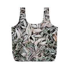 Ice Leaves Frozen Nature Full Print Recycle Bags (m)