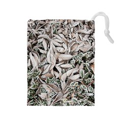 Ice Leaves Frozen Nature Drawstring Pouches (large)